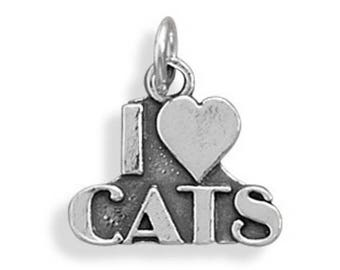 I Love Cats Charm 925 Sterling Silver Pendant Heart Kitty Cat Pet Animal