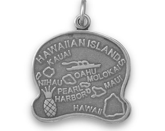 Sterling Silver Hawaii State Charm America Aloha Pineapple Boat Oahu Maui