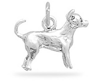 Sterling Silver Chihuahua Dog Charm Pendant 3d Animal Pet Doggie