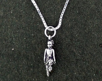 Sterling Silver Irish Step Dancer Pendant Necklace With Box Chain
