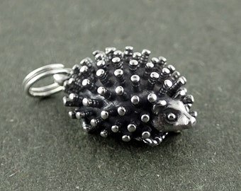 Sterling Silver Hedgehog Charm Pendant 3D Porcupine Animal