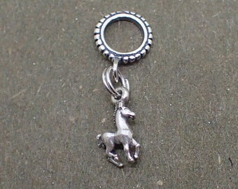 Dangle Horse Charm Bead Sterling Silver Pendant Pony Colt