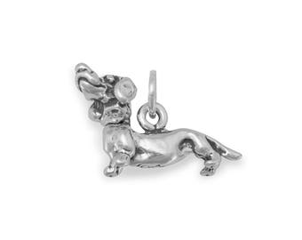 Dachshund Charm 925 Sterling Silver Pendant animal Dog head turns
