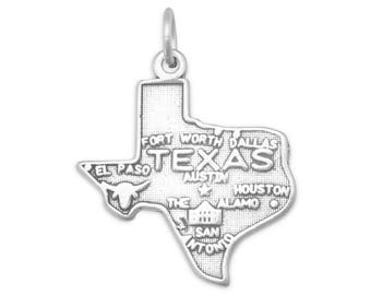 Sterling Silver Texas State Charm America Longhorn Dallas Alamo Houston