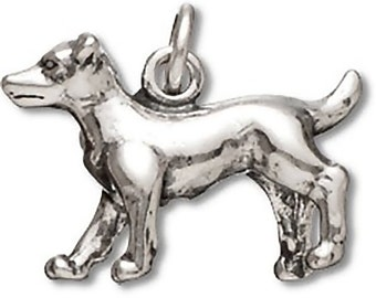 Jack Russell Terrier Dog Charm Sterling Silver Pendant 3D Pet Animal
