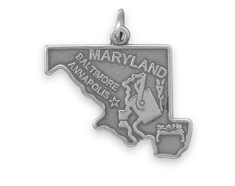 Sterling Silver Maryland State Charm America Old Line Baltimore Annapolis