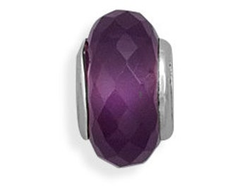 Faceted Purple Glass Charm Bead Sterling Silver Core Large Hole