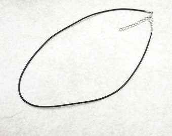 "Black Leather Necklace 1.5mm Silver Tone Lobster Clasp Closure with 2"" extension chain"