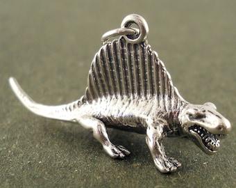 Sterling Silver Dimetrodon Dinosaur Charm 3D Pendant Prehistoric Animal Reptile