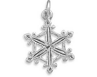 Sterling Silver Snowflake Charm Pendant Christmas Winter Snow
