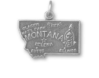 Sterling Silver Montana State Charm America Helena Billings Butte