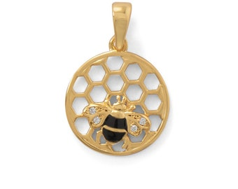 Honeycomb Bee Pendant 14 Karat Gold Plated 925 Sterling Silver Charm Animal Insect