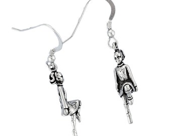 Sterling Silver Irish Step Dancer Earrings Dangle Charms with French Hooks