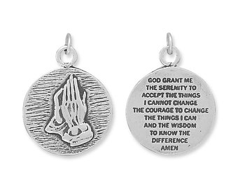 Serenity Prayer Charm Sterling Silver Pendant Praying Hands 2 sided