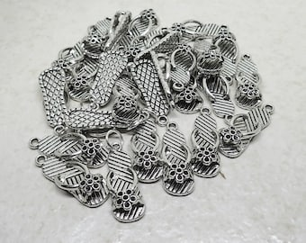 CLEARANCE Flip Flop Charms set of 27 Pewter Silver Plated Sandals Beach Shoes