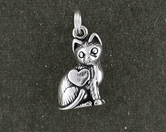 Cat Charm Sterling Silver Pendant 3D Heart Pet Animal Love Kitties