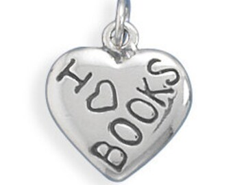 Sterling Silver I Love Books Charm Pendant Heart Book