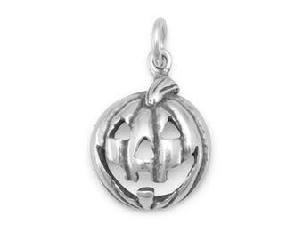 Jack-O-Lantern Pumpkin Charm 925 Sterling Silver Pendant Halloween