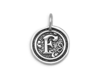 Sterling Silver Letter Charm F Initial Pendant Ornate Disc