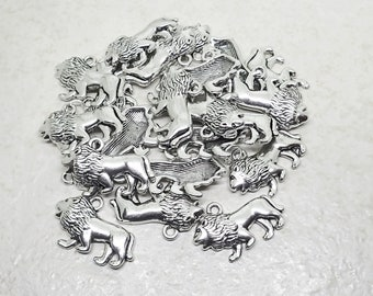 CLEARANCE Lion Charm set of 22 Pewter Silver Plated Animal