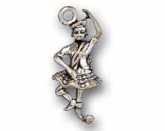 Sterling Silver Scottish Dancer Charm Pendant Celtic Dance Tam Kilt Tartan Scotland