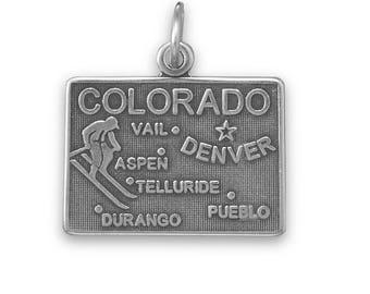 Sterling Silver Colorado State Charm America Centennial Skier Aspen Denver