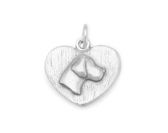 Sterling Silver Dog Silhouette Heart Charm Pendant Animal Pet Pendant
