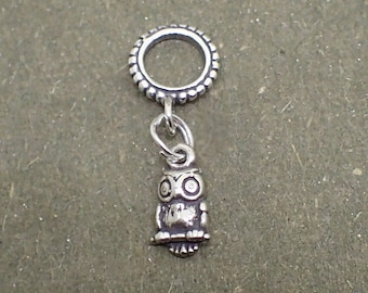 Dangle Owl Charm Bead Sterling Silver Pendant Bird