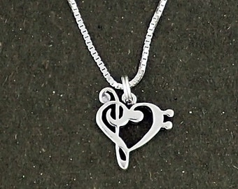 Music Note Heart Bass and Treble Clef Pendant Necklace Sterling Silver