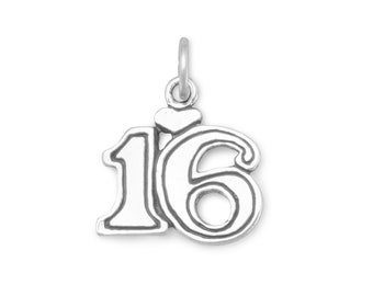 Heart with Number 16 Charm 925 Sterling Silver Pendant Sweet 16