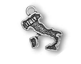 Italy Map Charm Sterling Silver Pendant Italia Italian Country Travel