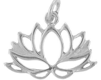Lotus Flower Charm Sterling Silver Pendant