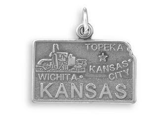 Sterling Silver Kansas State Charm America Star Topeka Wichita