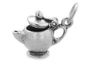 Teapot Charm Sterling Silver Pendant Tea Pot Lid Opens Drink Food