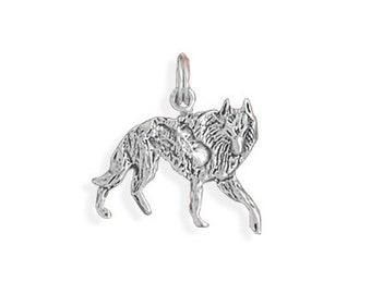 Sterling Silver Wolf Charm Pendant Walking Animal