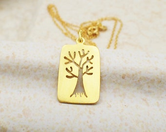 Tree of Life Necklace Gold Plated Sterling Silver Family Charm Pendant Cable Chain