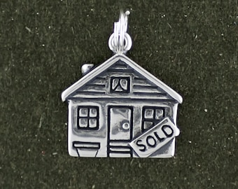 Sterling Silver Real Estate House Charm Pendant Sold Sign Agent