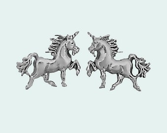 Unicorn Earrings Sterling Silver Studs Tiny Mini Horned Horse Animal Fantasy