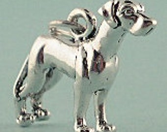 Sterling Silver Great Dane Dog Charm 3D Pendant Pet Animal Doggie