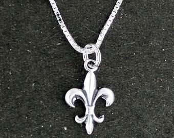 Sterling Silver Fleur De Lis Pendant Necklace With Box Chain
