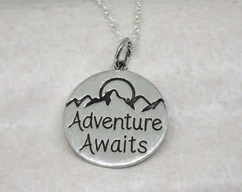 Adventure Awaits Necklace Sterling Silver Travel Charm Pendant Cable Chain