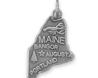 Sterling Silver Maine State Charm America Travel Pine Tree Lobster