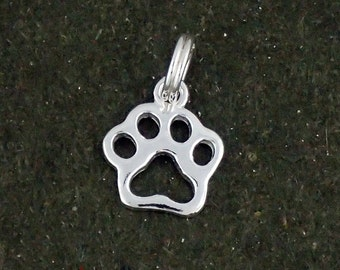 Pawprint Charm Sterling Silver Pendant Cut Out Paw Print Cat Dog