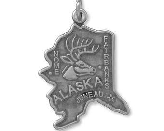 Sterling Silver Alaska State Charm America Last Frontier Elk Deer Juneau