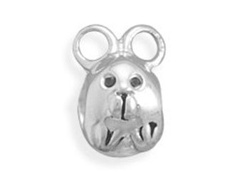 Mouse Charm Bead Sterling Silver Mice Animal Rodent