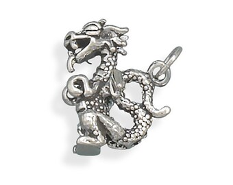 Sterling Silver Dragon Charm Pendant 3d Animal Fantasy Fairytale Reptile