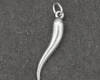 Italian Horn Charm Sterling Silver Pendant 3D Good Luck cornicello cornetto