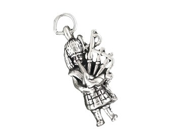 Sterling Silver Piper Bagpiper Charm 3d Celtic Music Pendant