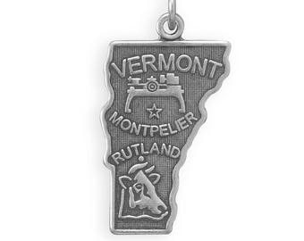 Sterling Silver Vermont State Charm America Green Mountain Montpelier Cow