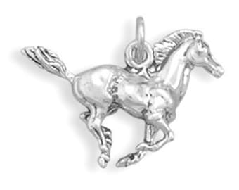 Sterling Silver Horse Charm Pendant 3D Galloping Stallion Animal